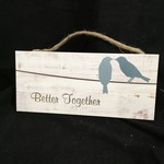 Hanging Sign - Two Birds 10x4.5""