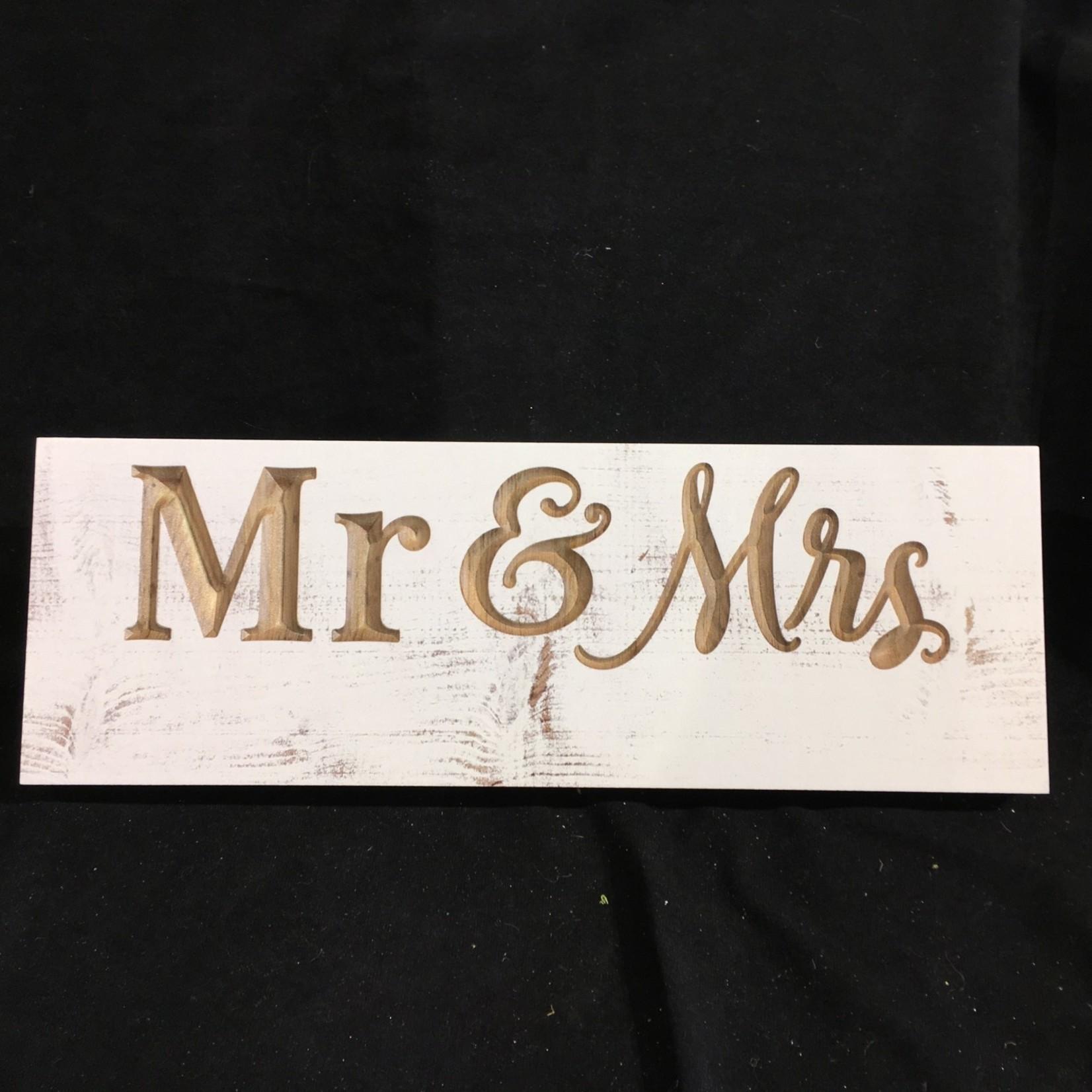 """Carved Sign - Mr & Mrs (15.75x5.5"""")"""