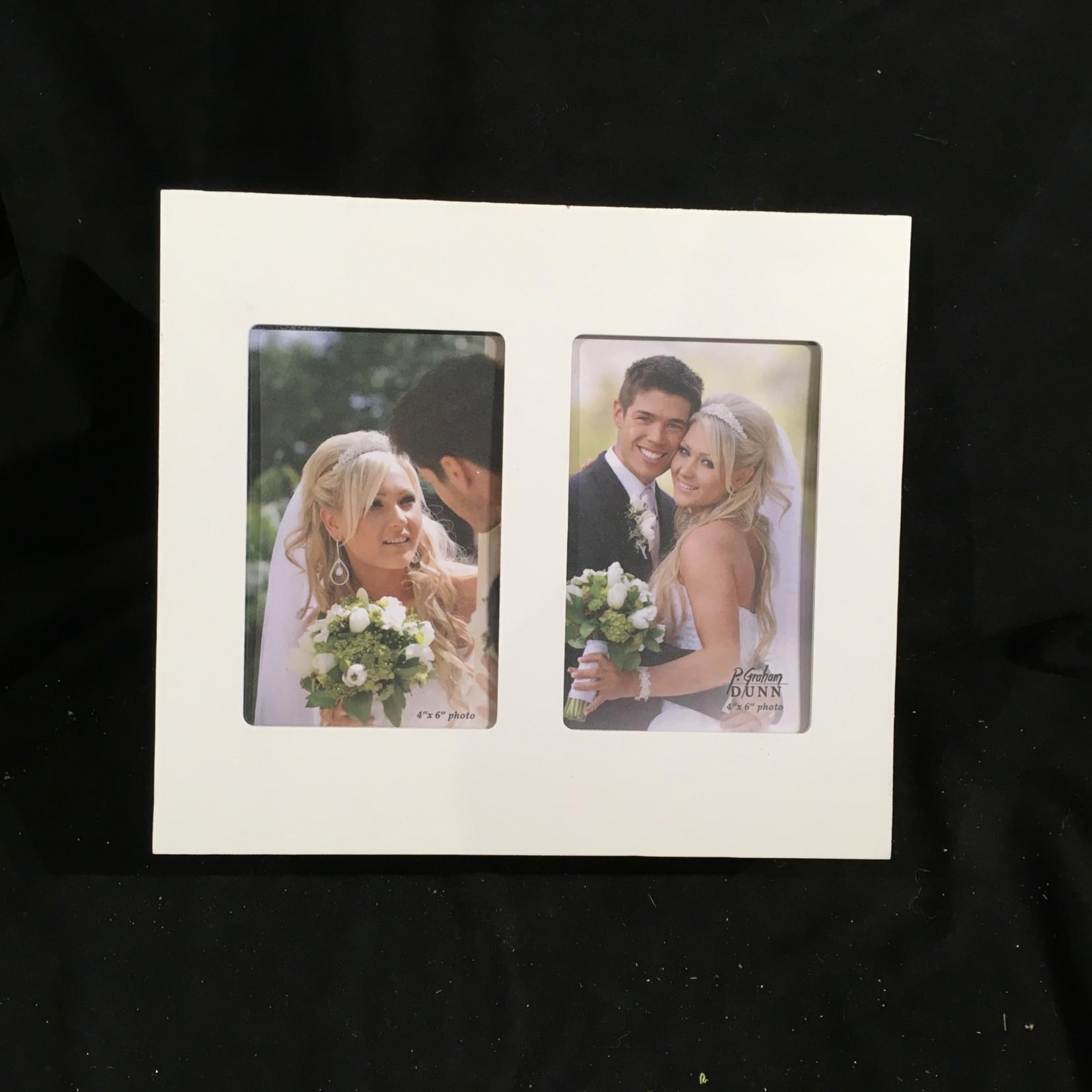 """Double Photo Frame - White w/2 4x6"""" Photos"""