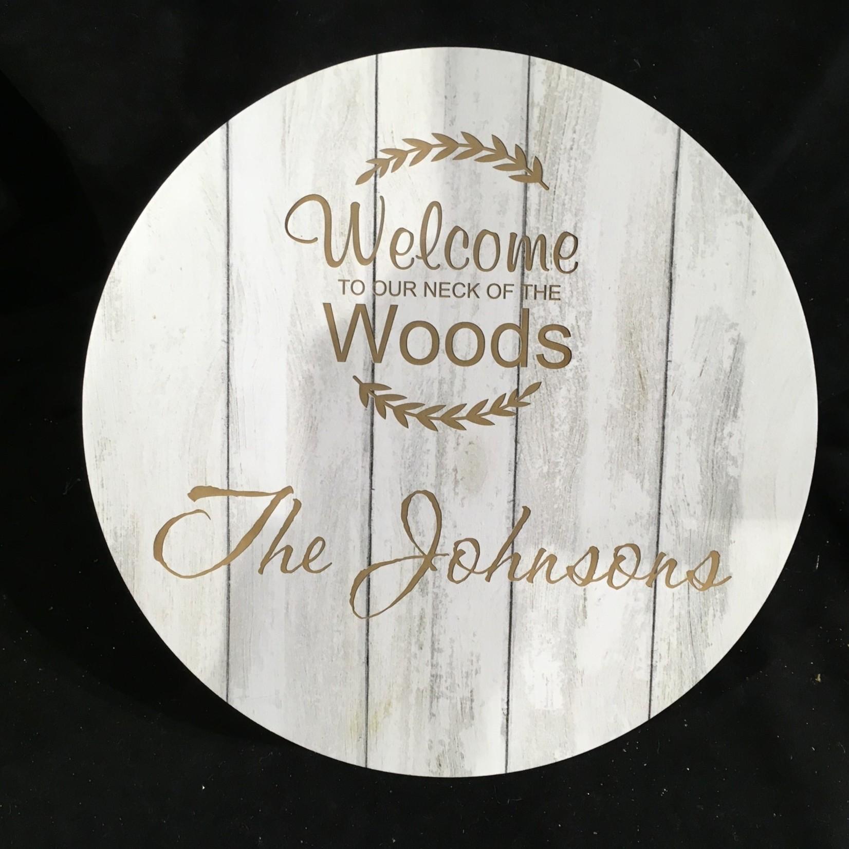 "White Wood Round Sign (10"" dia)"