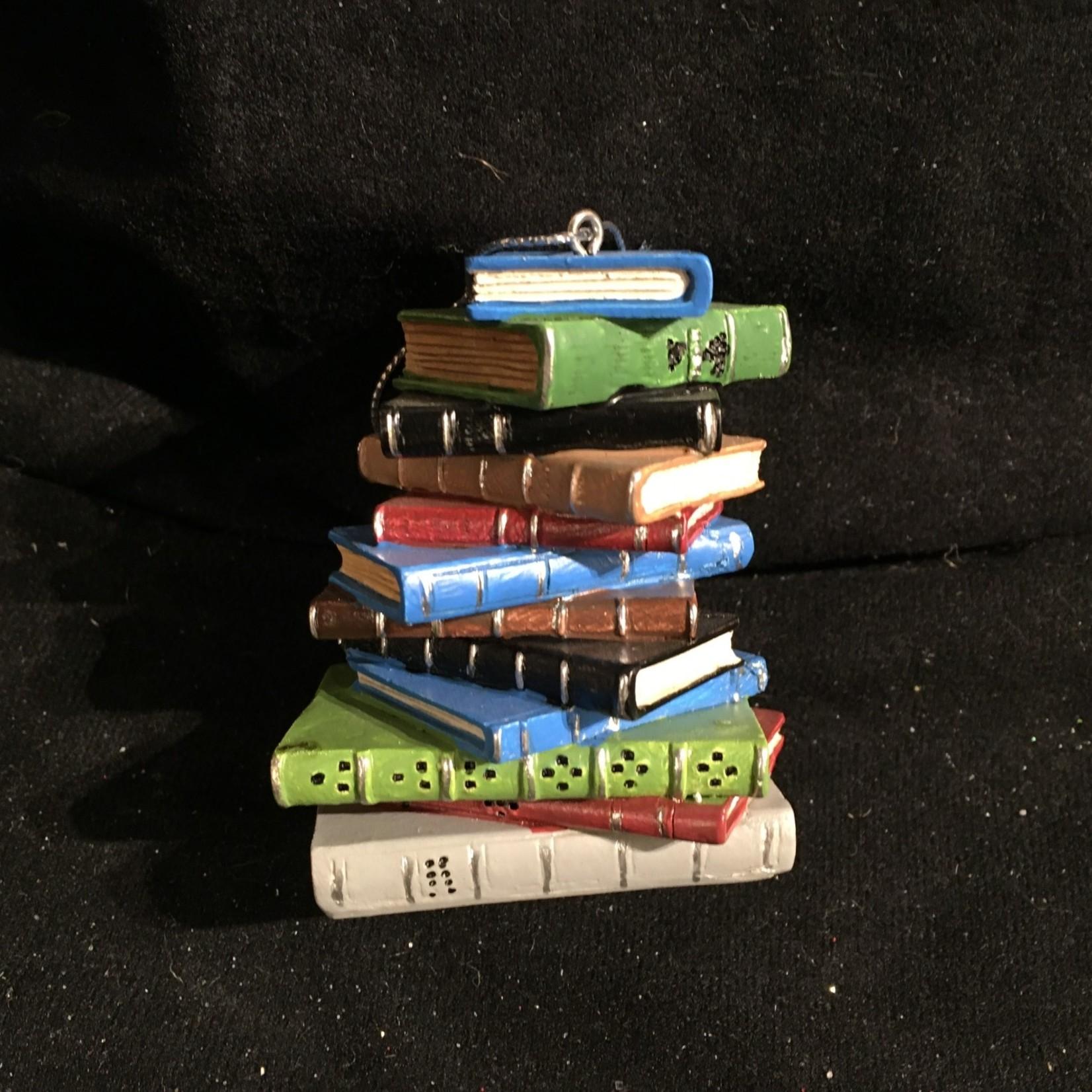 Pile of Books Orn