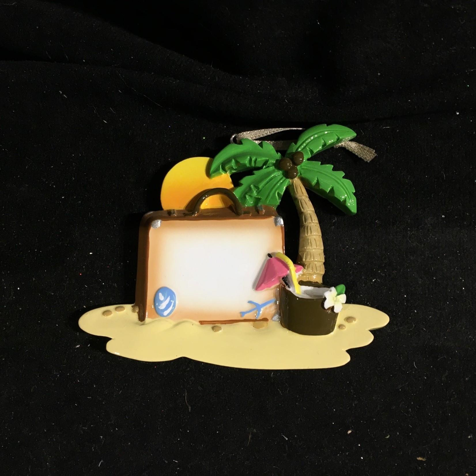 **Suitcase On Beach Ornament