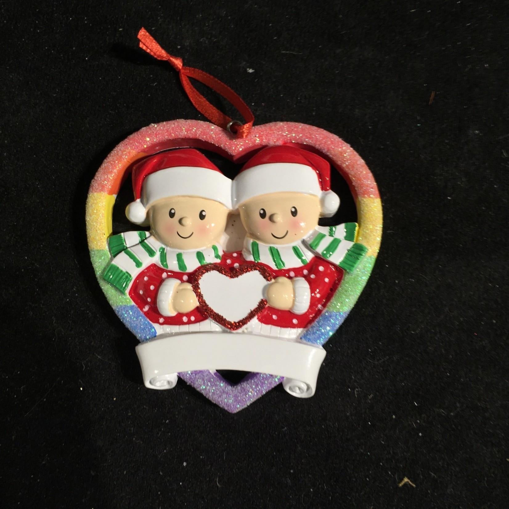 Male Couple Rainbow Ornament