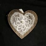 Wood Look Heart w/Lace  Orn