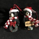 Santa Black Bear Ornament 2A