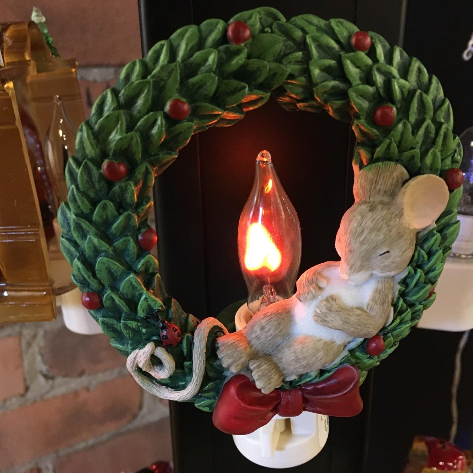 Mouse in Wreath Flicker Night Light