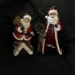 """5"""" Plaid Santa Orn w/Deer or Chimney 2A"""