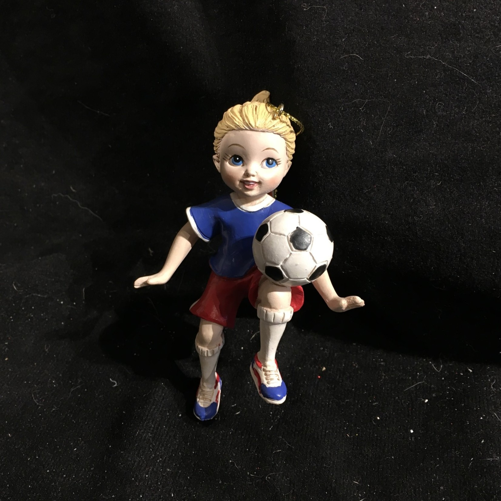 **Girl Playing Soccer Orn (Blonde)
