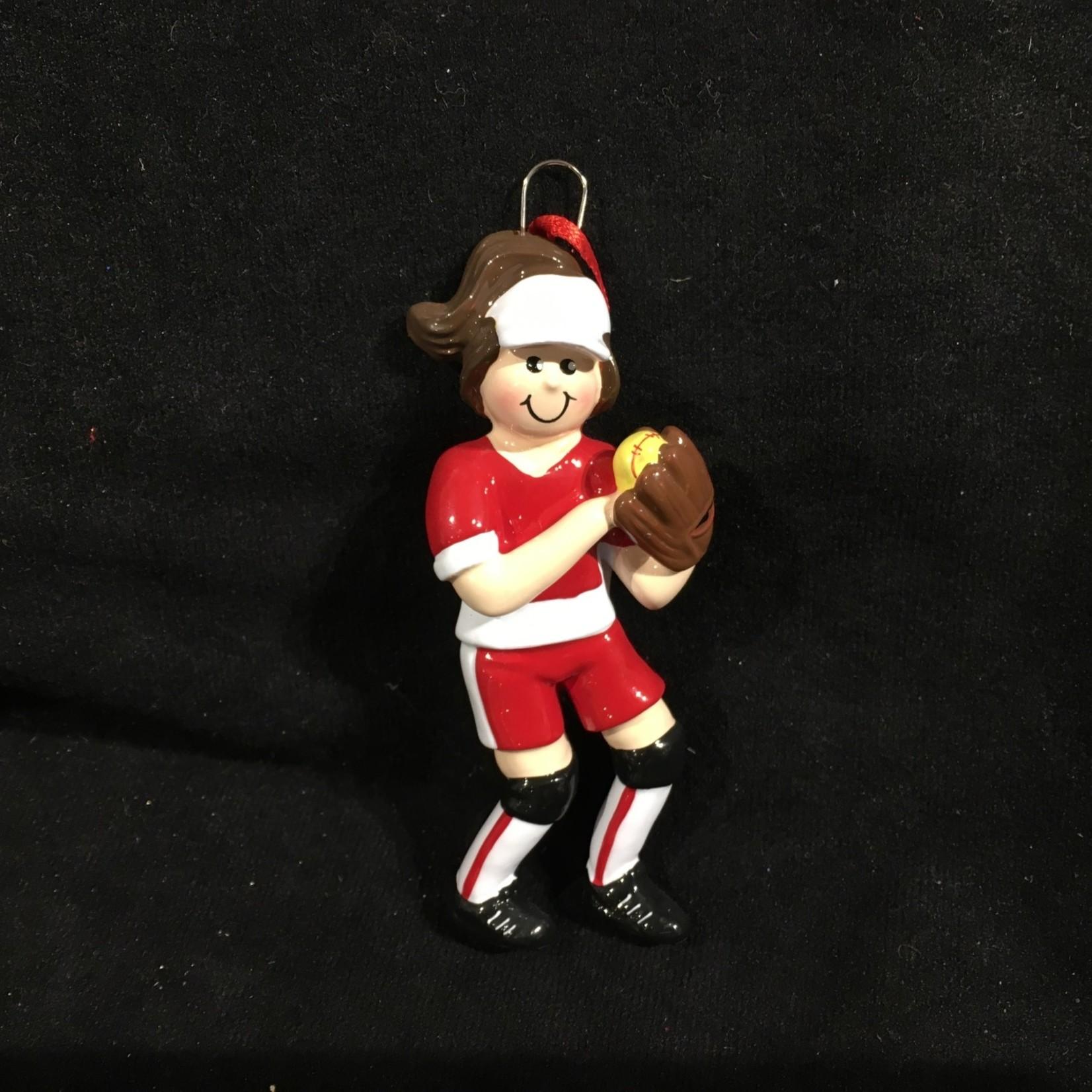 **Softball Girl Orn - Brown