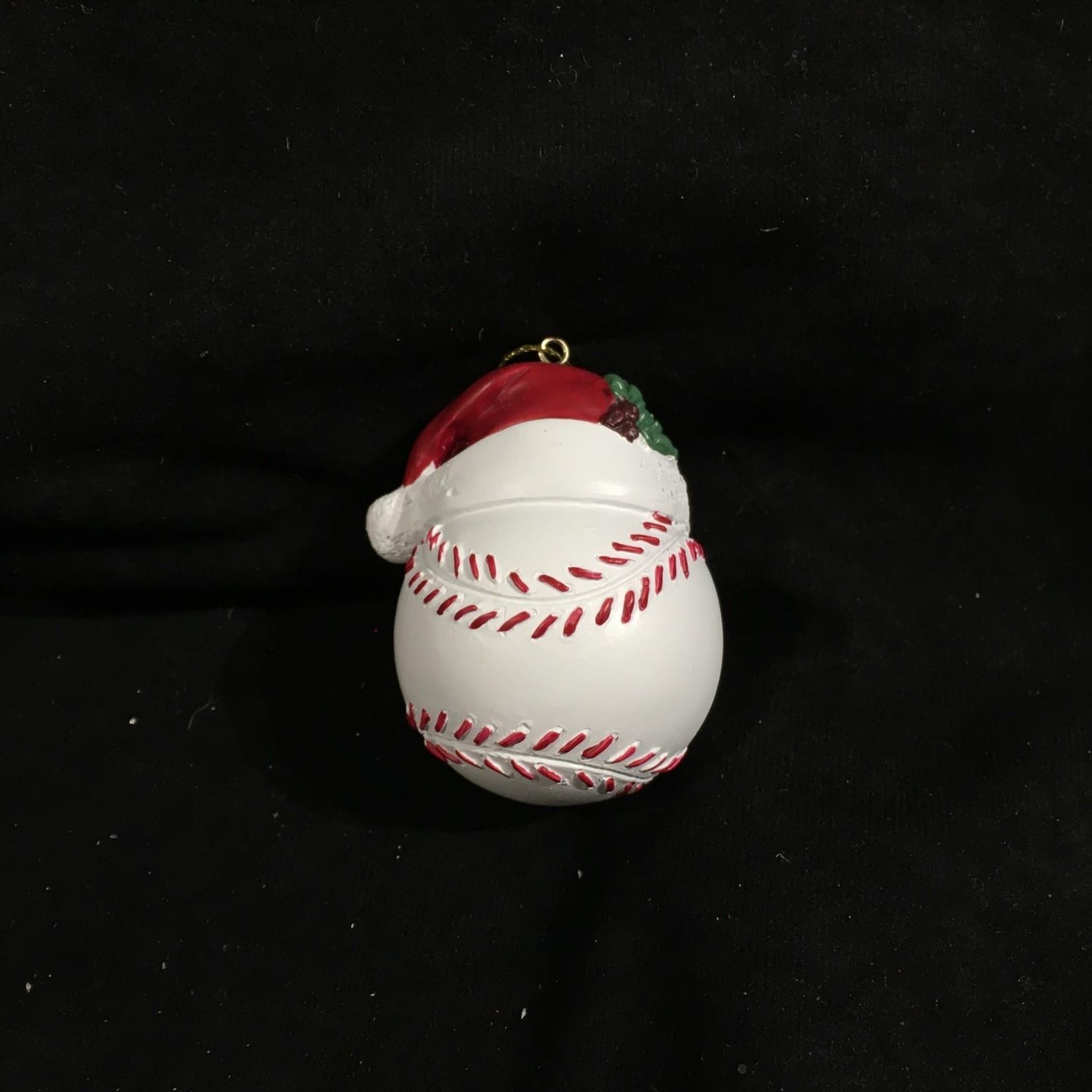 Baseball w/Santa Hat Orn