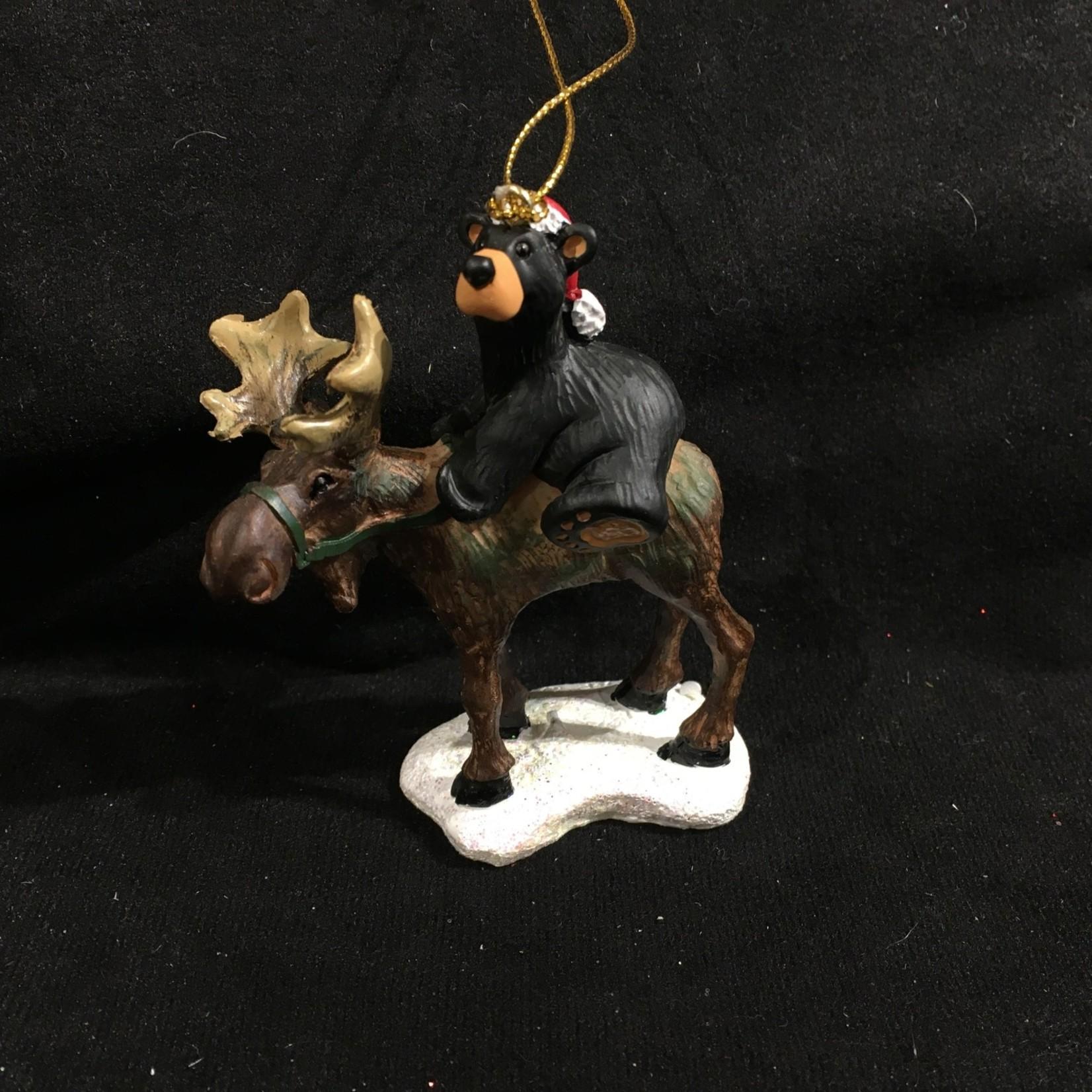 Bear Riding Moose Ornament