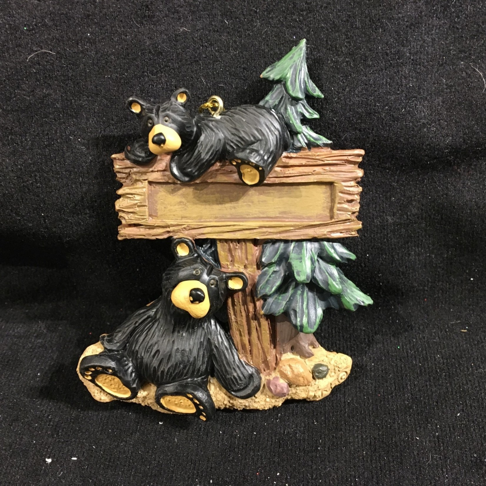 Two Bears by Sign Ornament