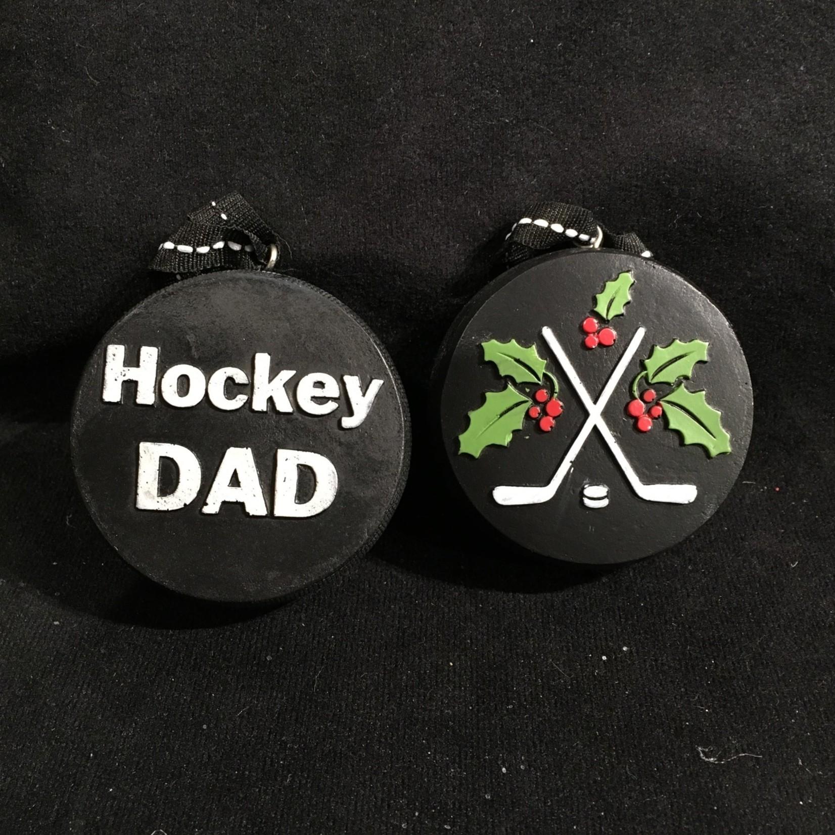 Hockey Dad Puck Orn