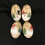 Santa/Snowman Wood Oval Orn 4A