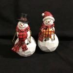 """**6.5"""" Snowman w/Plaid Heart/Star Figurine 2A"""