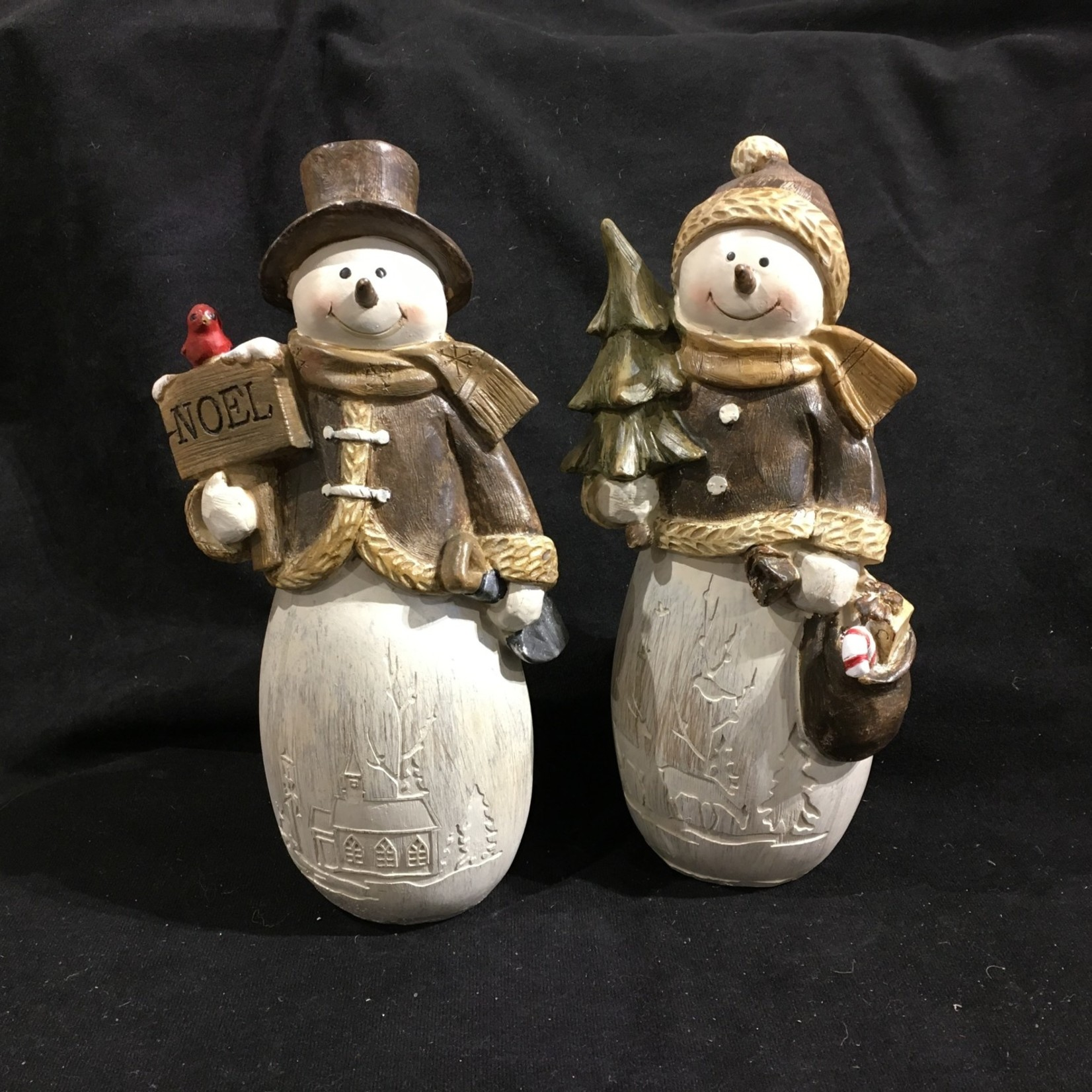 "**11.5"" Wood Look Snowman Figurine 2A (no box)"
