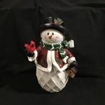"12"" Snowman w/Cardinal Figurine(no box)"