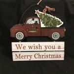 """13.5"""" Snowman Truck & Tree Sign"""