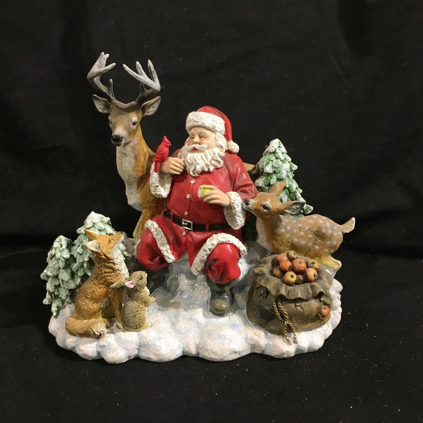 "9.5x9"" Santa w/Animals Figurine"