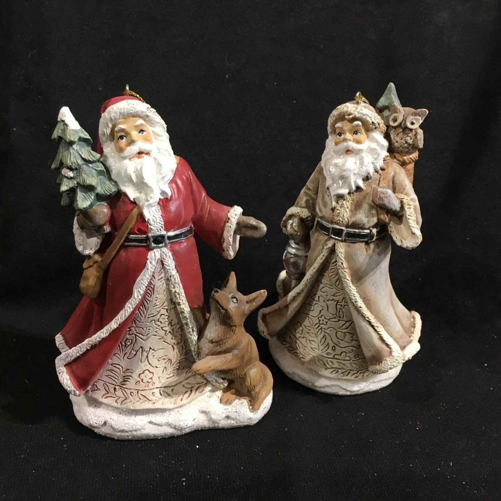 "**5"" Folk Art Santa Ornament 3A"