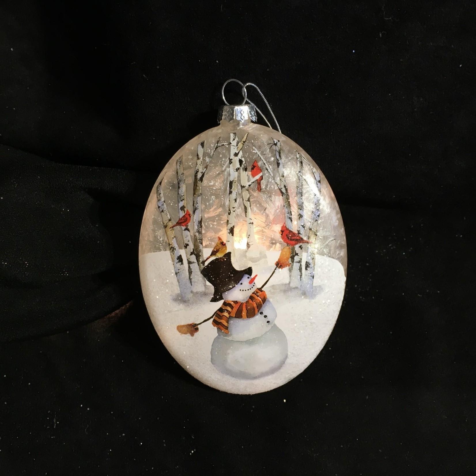 "**5.5"" Oval Lit Snowman Ornament 2A"
