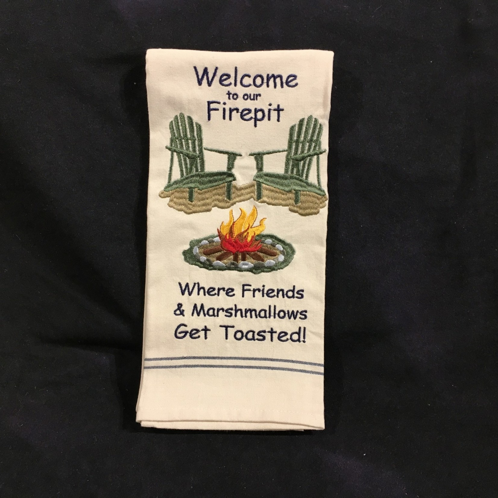 **Welcome To Our Firepit Tea Towel
