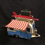 "9x7.5"" Blue & White Metal Camper"