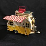 "9.25x7"" White & Yellow Metal Camper"