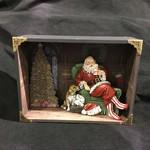"""13x9.75"""" Santa w/Dog Shadow Box"""