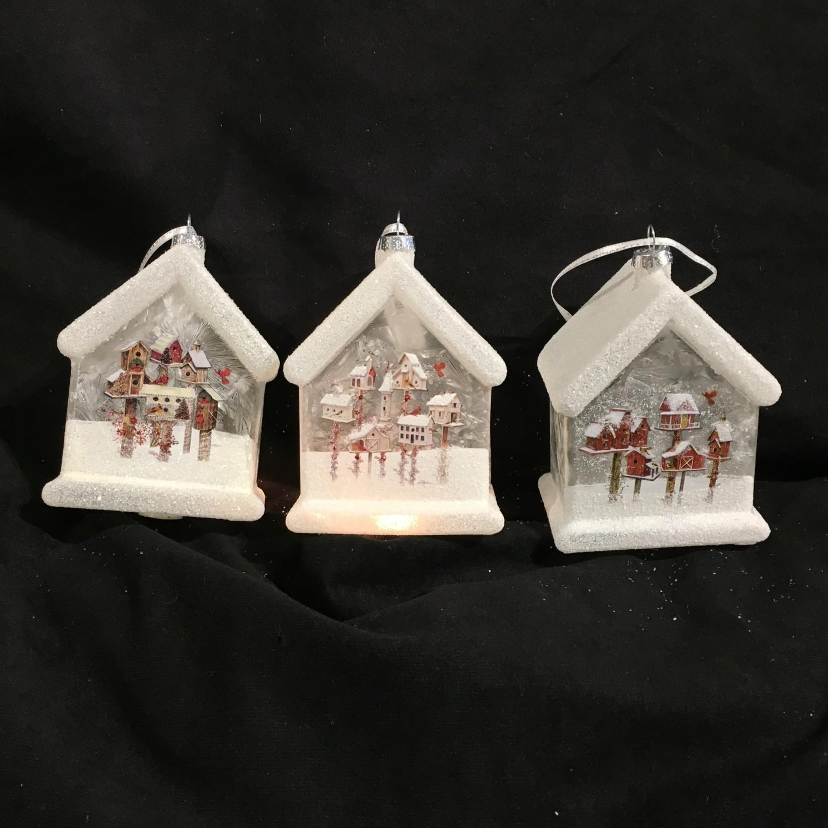 """5"""" Lit Glass Birdhouse Ornament 3A"""