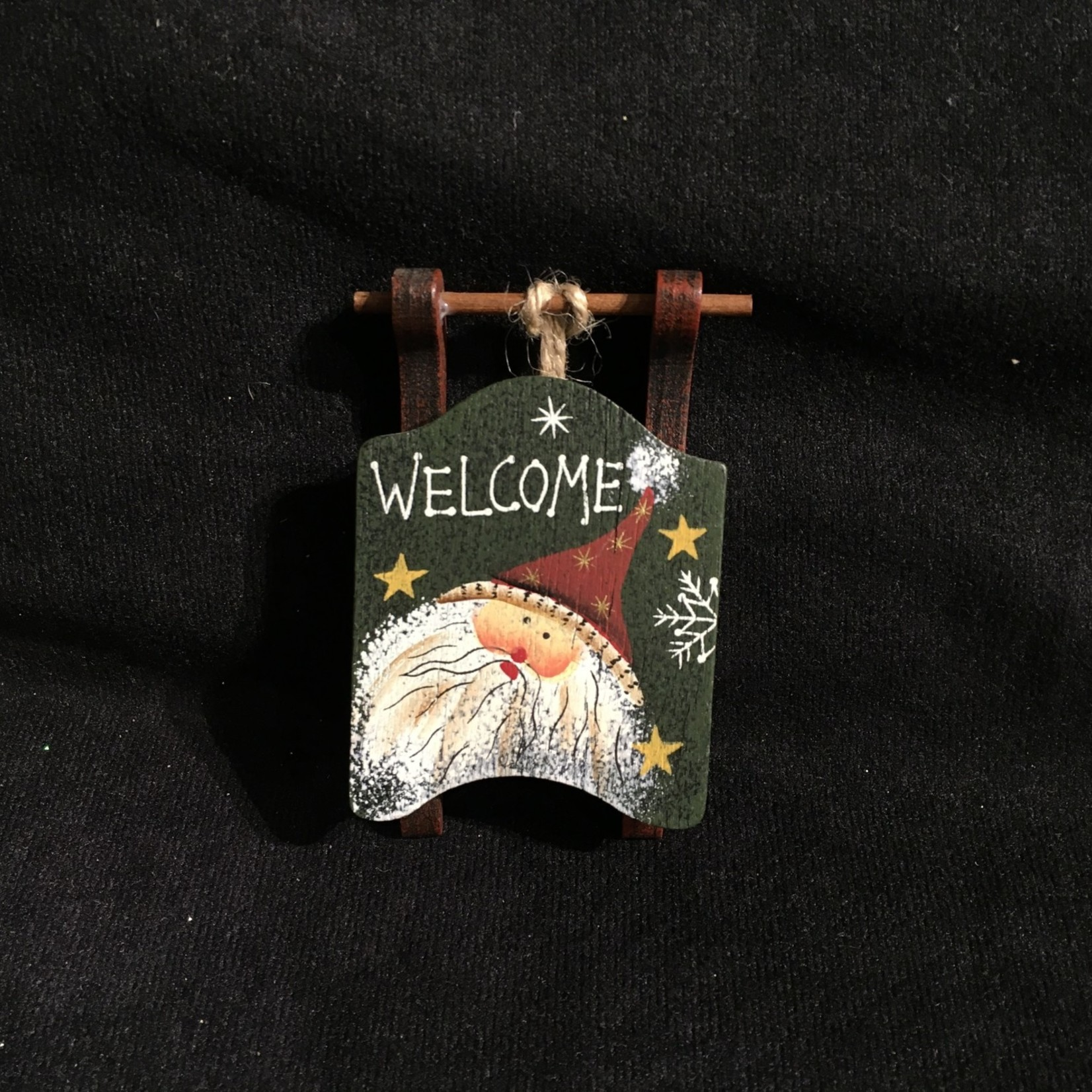 **Painted Wood Sled Orn.4A