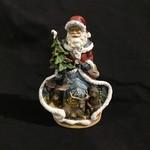 "7x9.75"" Santa w/Moose & Bear Figurine"