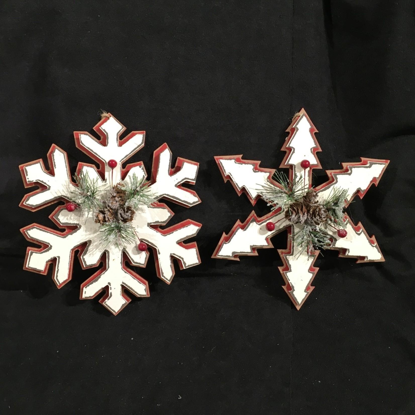 "**7.5"" Red/White Folk Snowflake Orn."