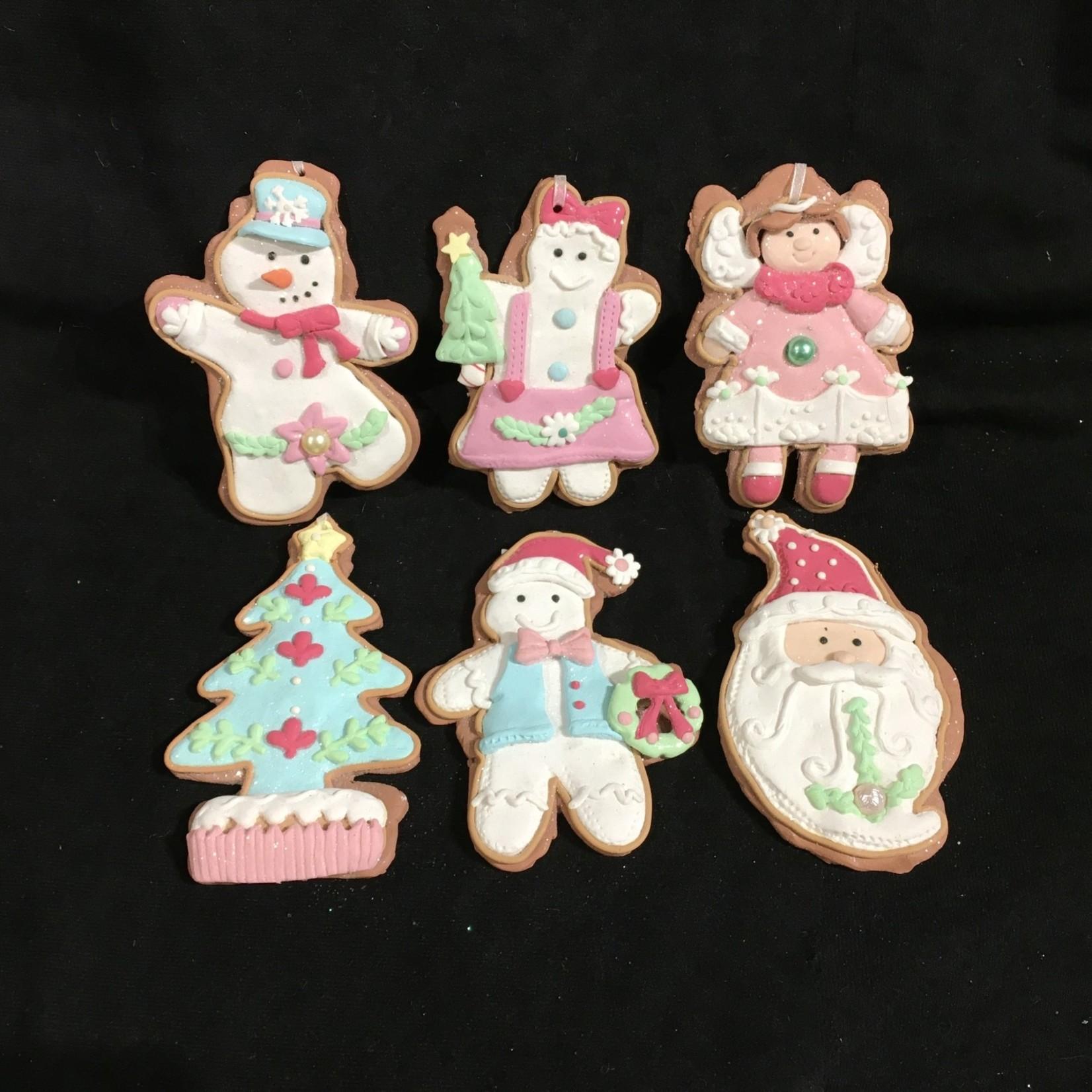 **Pastel Snowman/Santa/Angel/Tree  Orn 6A