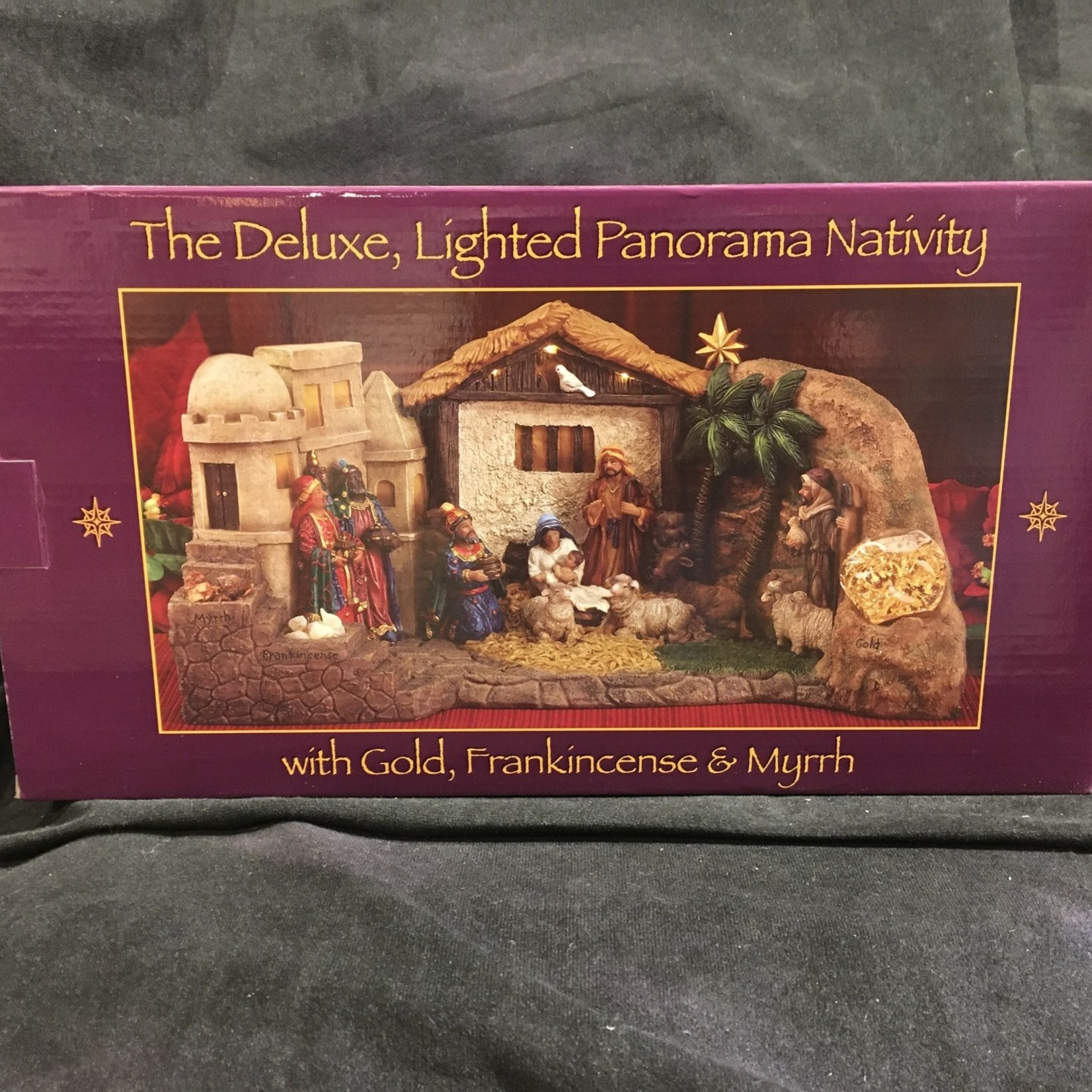 """22"""" Lighted Panorama Nativity w/Gifts"""