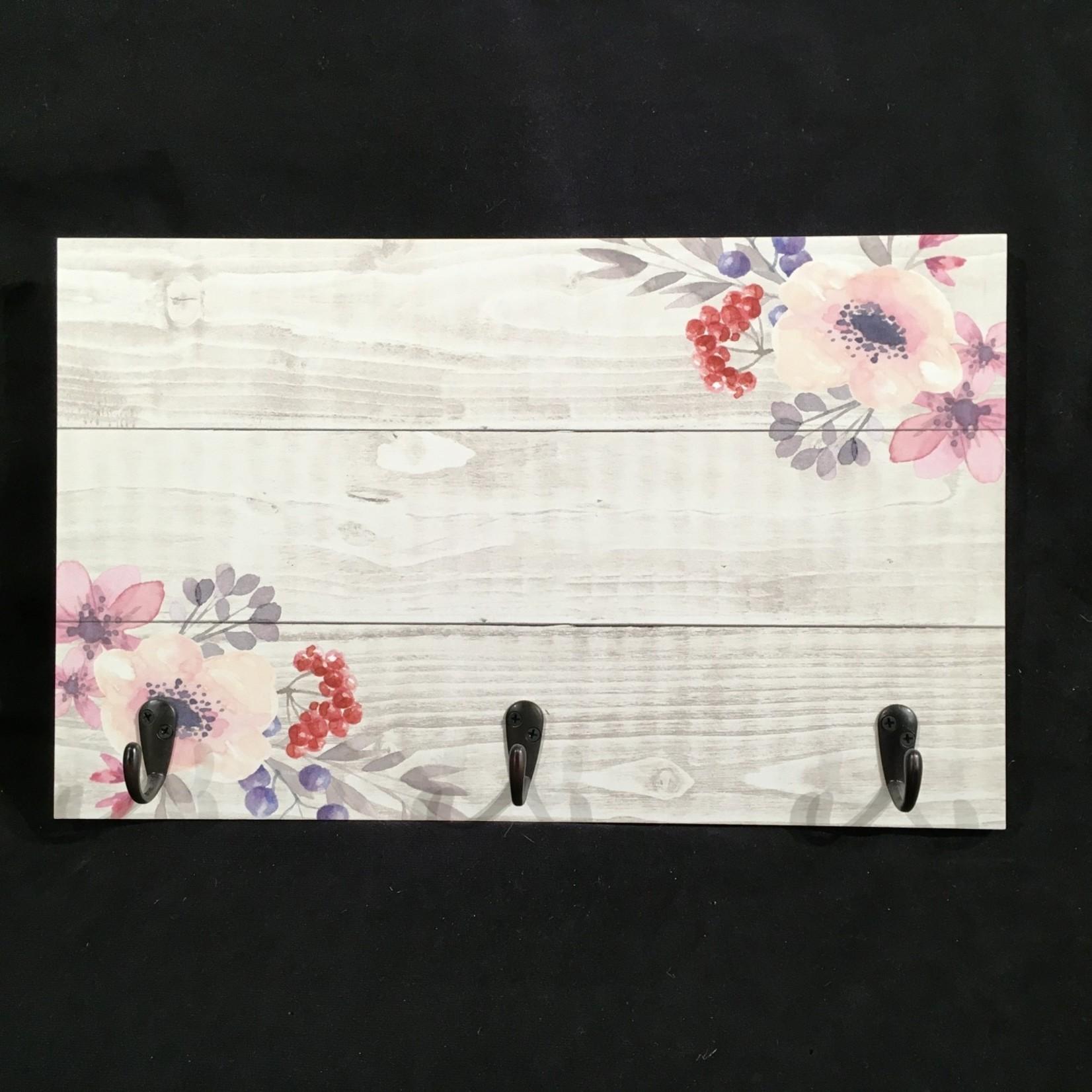 """17x10.5"""" Plaque w/Hooks - Floral"""