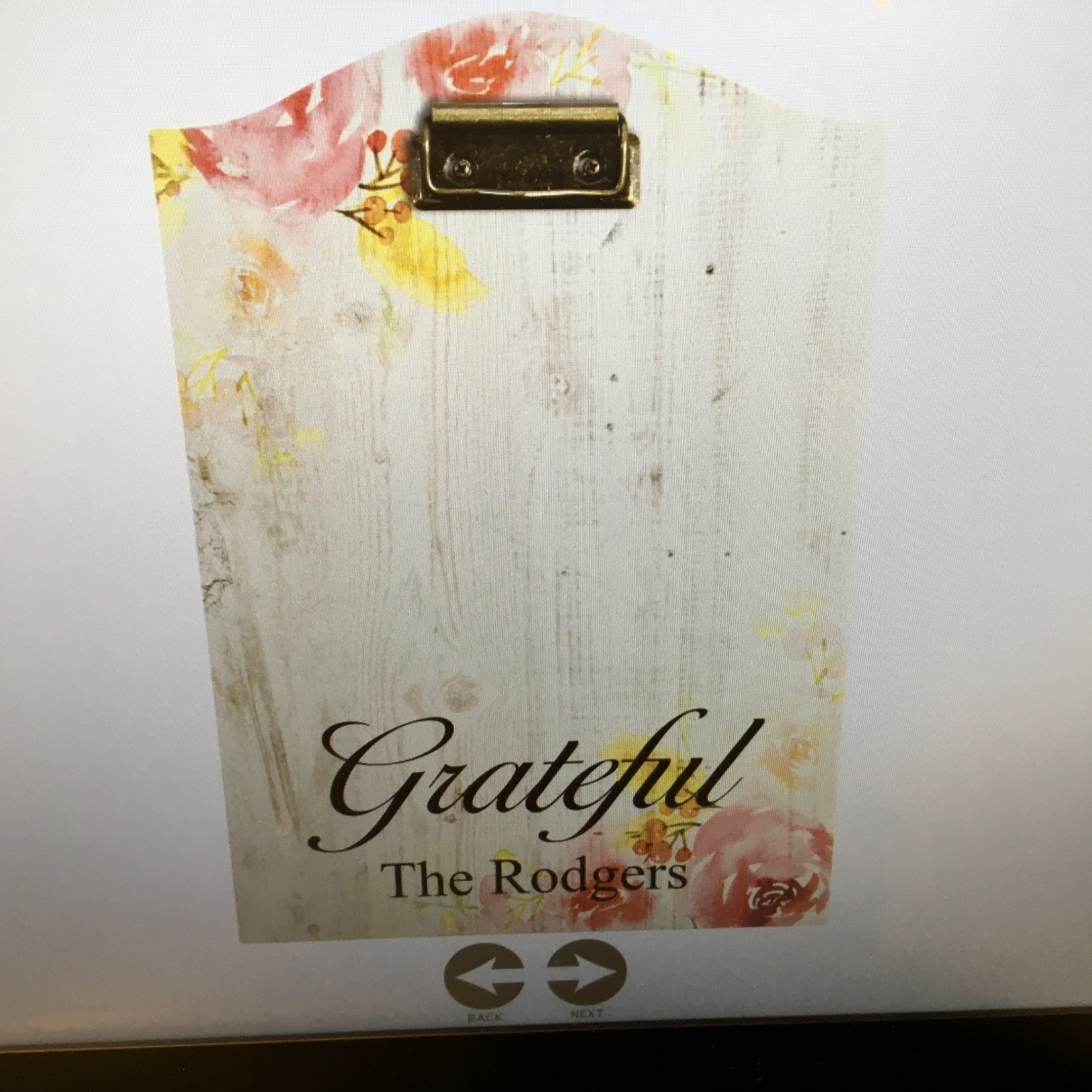"""9x13"""" Clipboard - White Floral"""