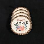 Live Edge Happy Camper Coaster (4 pk)