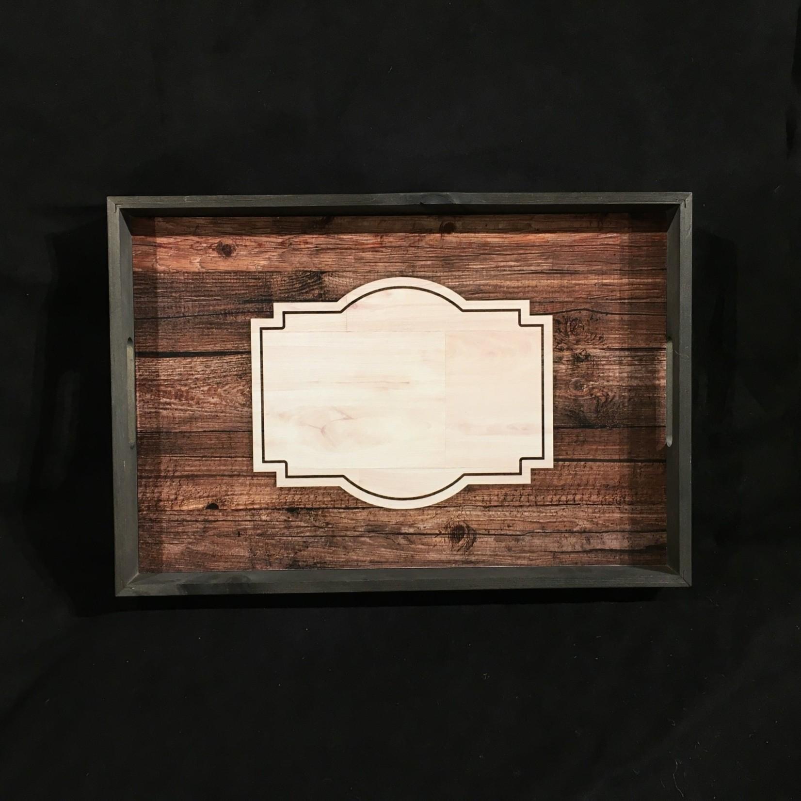 "Rustic Barn Board Tray 19x13"""