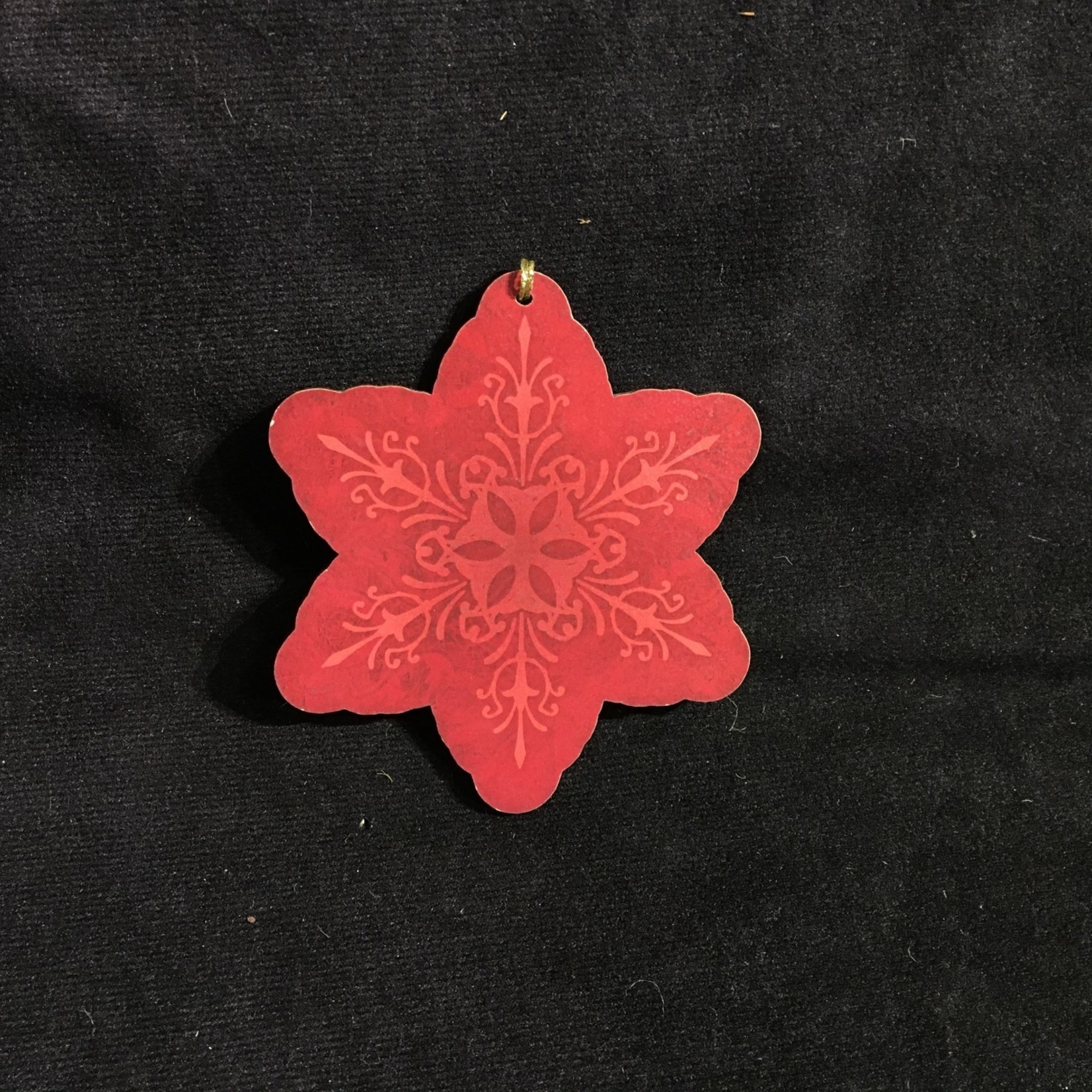**Wood Snowflake Ornament (Red)