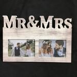 4x6 Mr & Mrs Frame - White Wood (2 Photos)