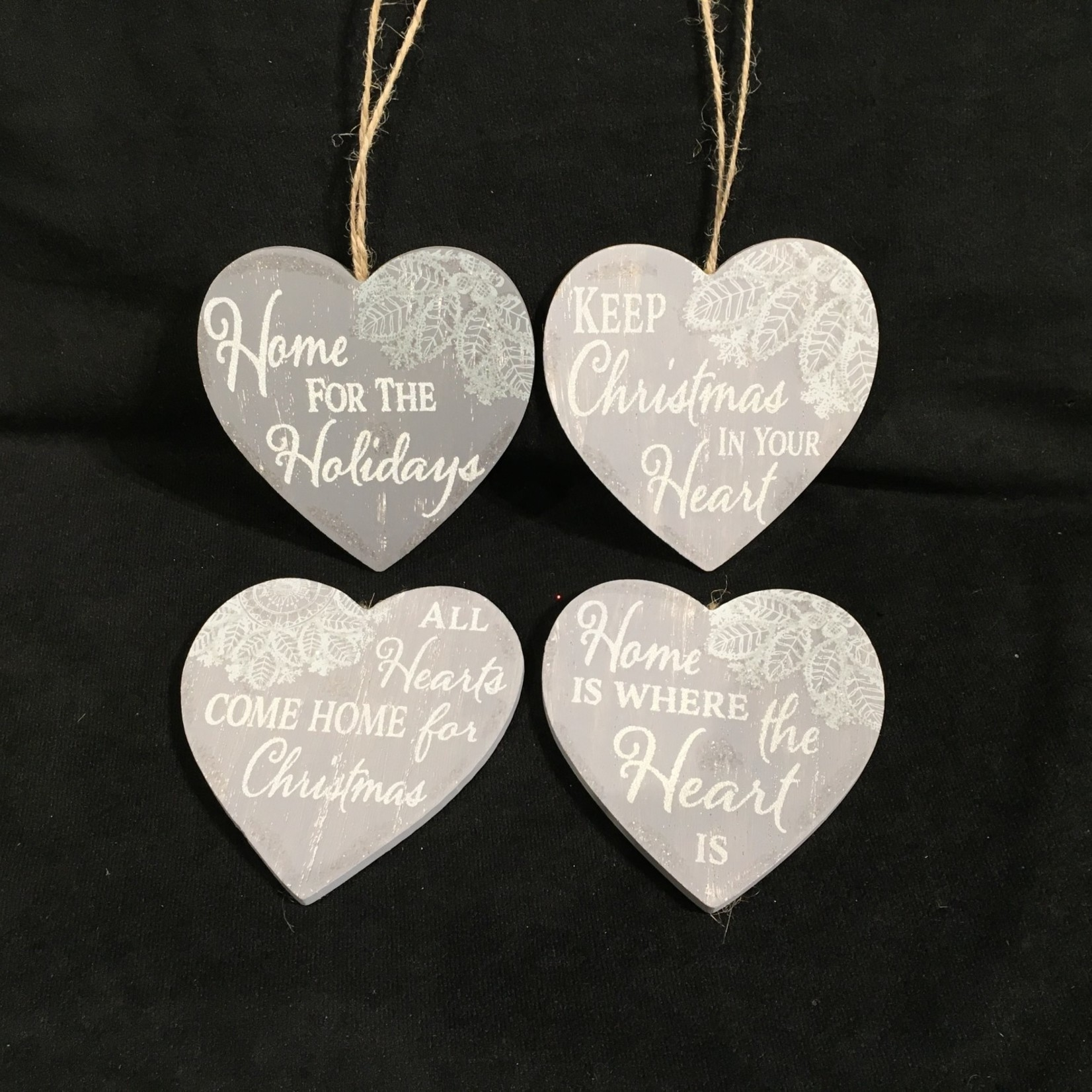 """**4"""" Wood Gray Lace Heart Orn. 6A"""