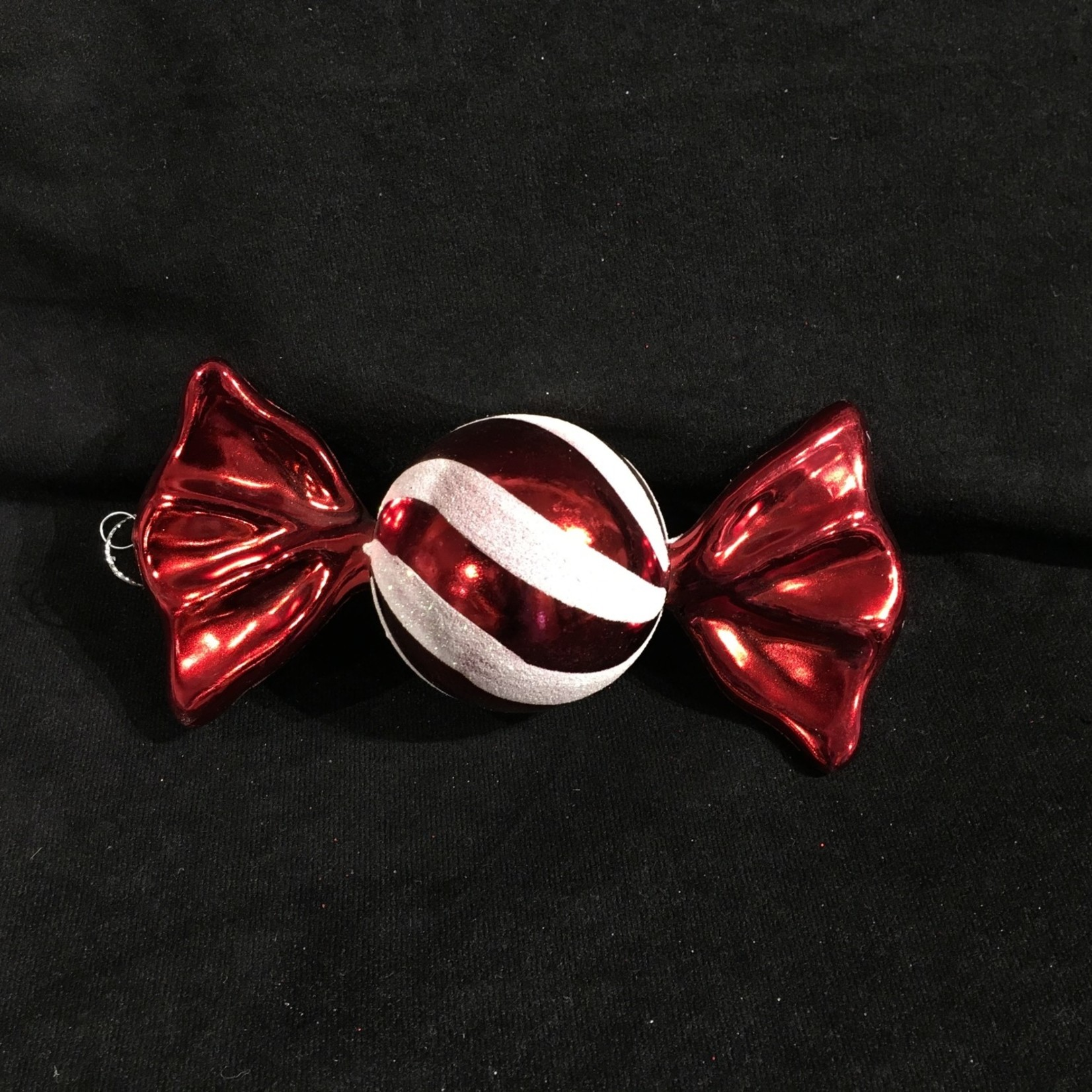 """8"""" Red/White Ball Candy Ornament"""