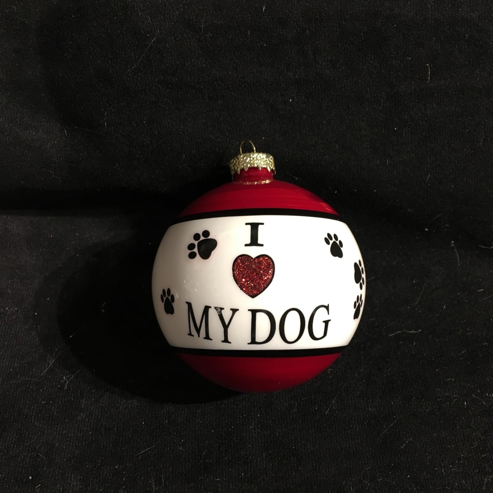 I Love My Dog Glass Ball
