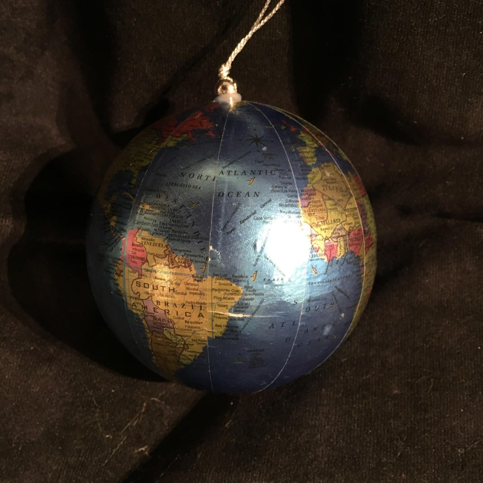"4"" Blue Globe Ornament"