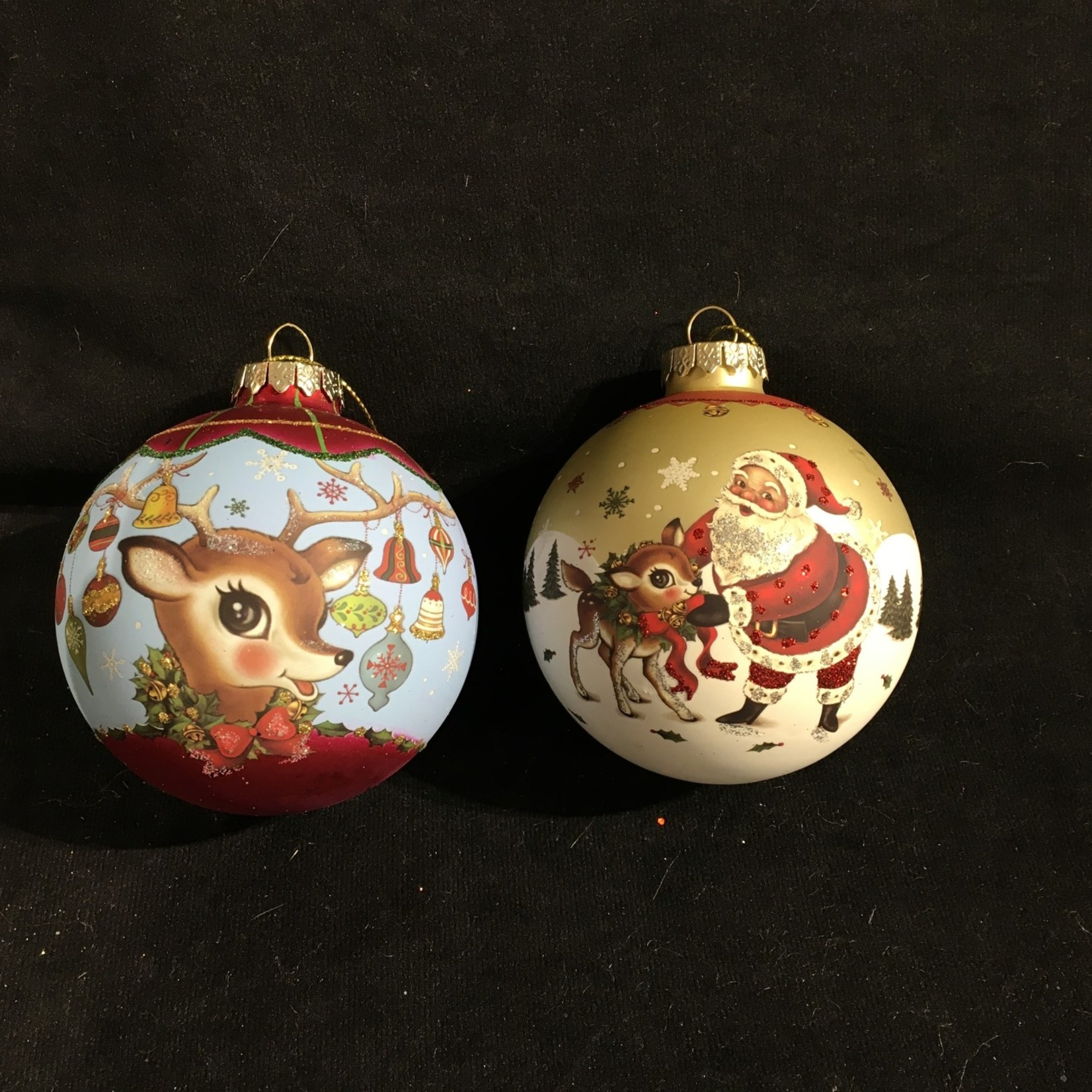 **Glass Santa/Deer Balls 2A