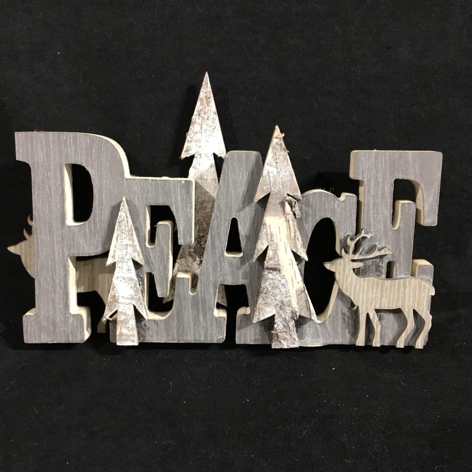 """Peace"" w/Gray Deer & Trees 12.5x8"""