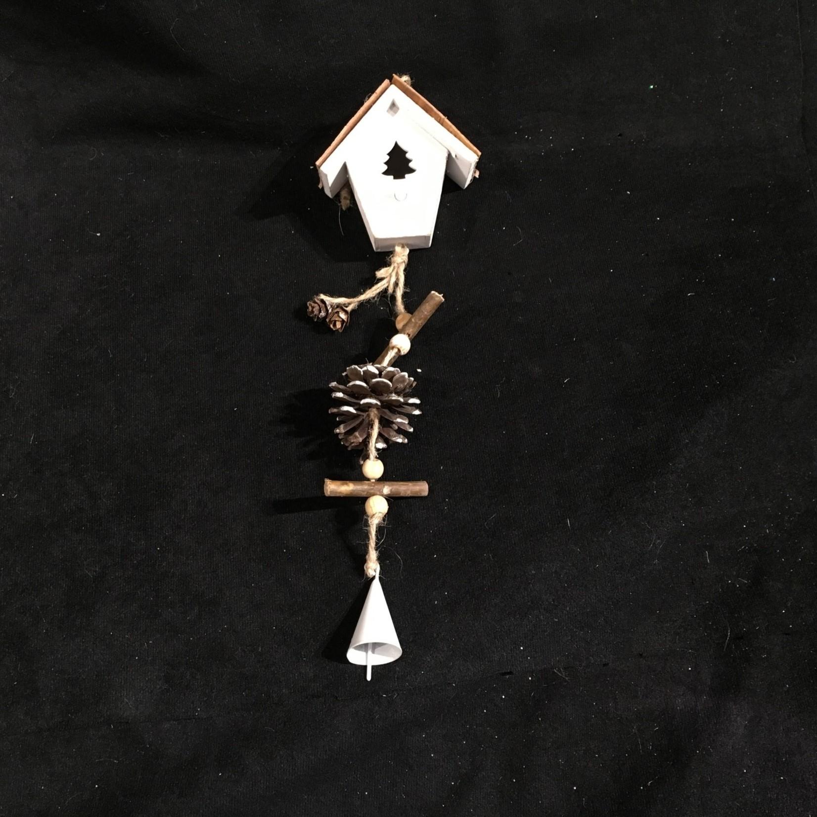 """**12"""" Wood Birdhouse w/Drop"""