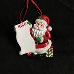 Santa w/List Ornament
