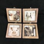 """4.5"""" Wooden Farm Animal Frame  Orn. 4A"""